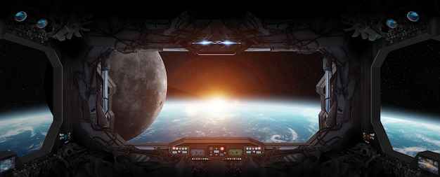 View of planet earth from inside a space station Premium Photo