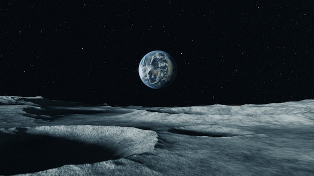 View of the planet earth from the surface of the moon. airless space. Premium Photo