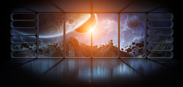 View planets from a huge spaceship window 3d rendering elements of this image furnished by nasa Premium Photo