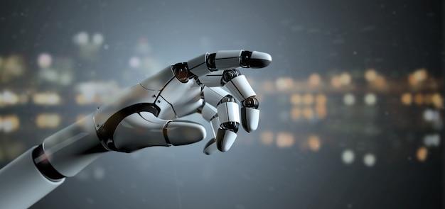View of a robot hand cyborg Premium Photo