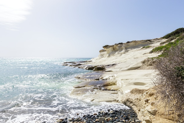 View of a rocky coast in the morning Premium Photo