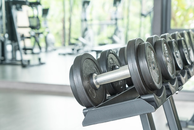 View of rows of dumbbells Free Photo