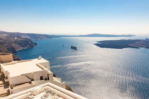 View of santorini caldera in greece from the coast Premium Photo