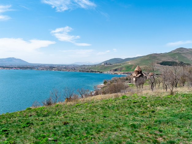 View of sevanavank church in sevan, armenia on sunny spring day Premium Photo