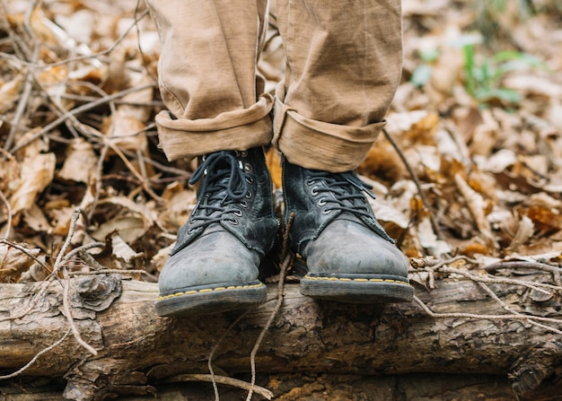 View on shoes of man in nature Free Photo