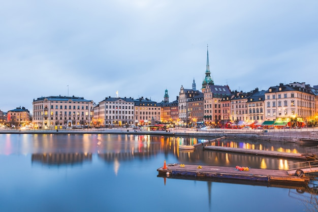 View of stockholm old town at dusk Premium Photo