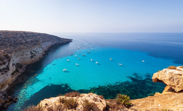 View of tabaccara famous sea place of lampedusa Premium Photo