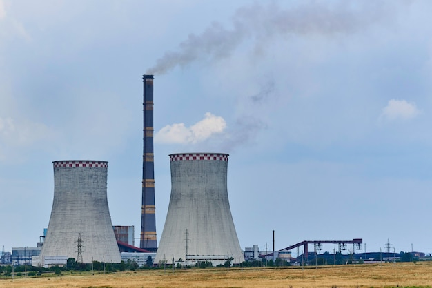 View of the thermal power plant in the field. Premium Photo