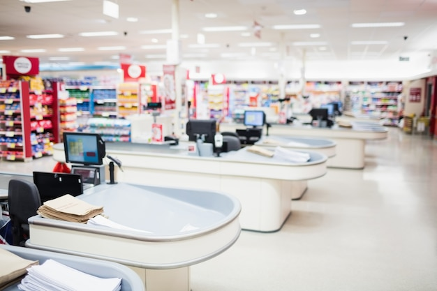 View of tills and shelves Premium Photo