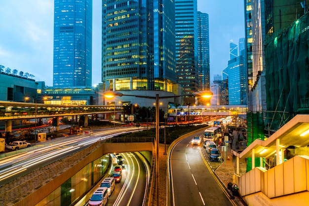 View of traffics with office & commercial buildings in central area in hong kong. Premium Photo
