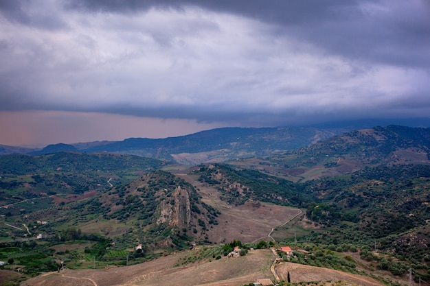 View of typical sicilian countryside from leonforte Premium Photo