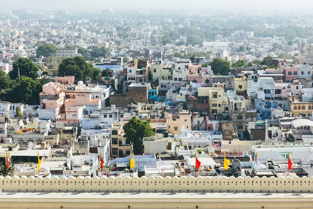 View of udaipur city from city palace in rajasthan, india Free Photo