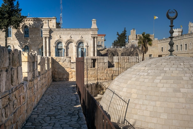 View of the wall promenade surrounding the old city with ...   Cities Surrounding Jerusalem