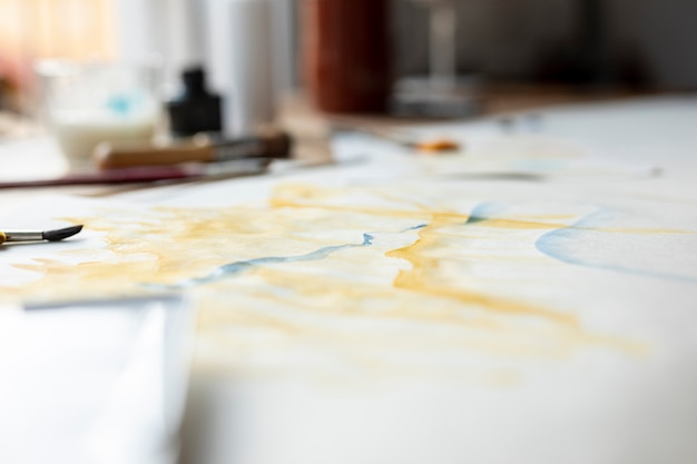 View of watercolour painting indoors Free Photo