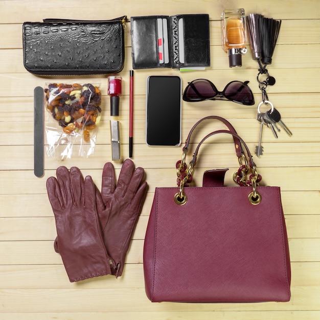View on women bag stuff Premium Photo
