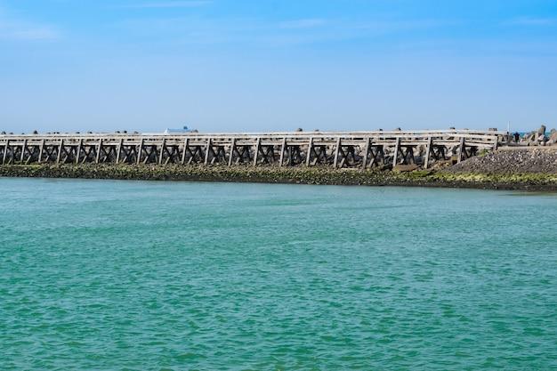 View of wooden bridge upon river Premium Photo