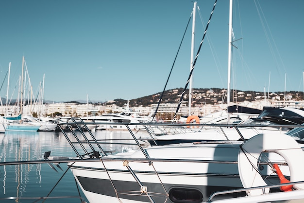 View of yachts in marina of cannes, france Premium Photo