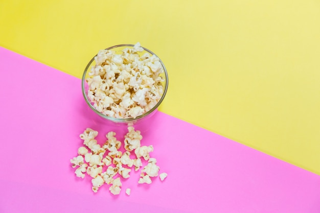 Viewed from above of salt popcorn in bowl, top view Premium Photo