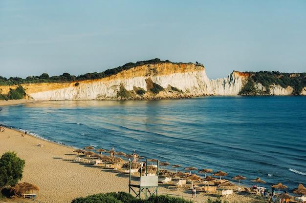 Viewpoint of gerakas beach in the island of zakynthos. Premium Photo