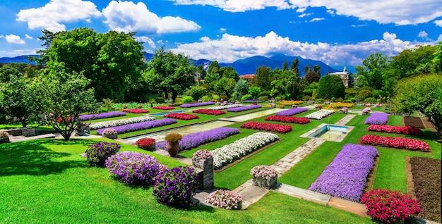 Вилла таранто с красивыми садами. озеро лаго-маджоре, север италии Premium Фотографии