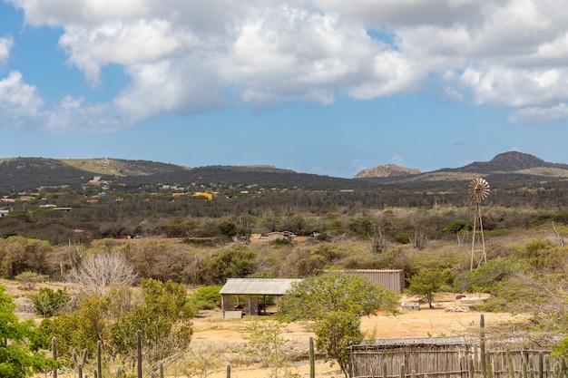 カリブ海のボネール島の曇り空の下で緑の風景に囲まれた村 無料写真