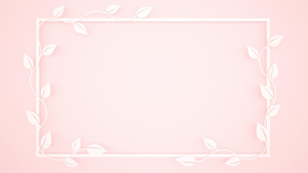 Vine leaves and white frame on light pink background Premium Photo