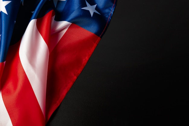 Vintage american flag on a chalkboard with space for text Premium Photo