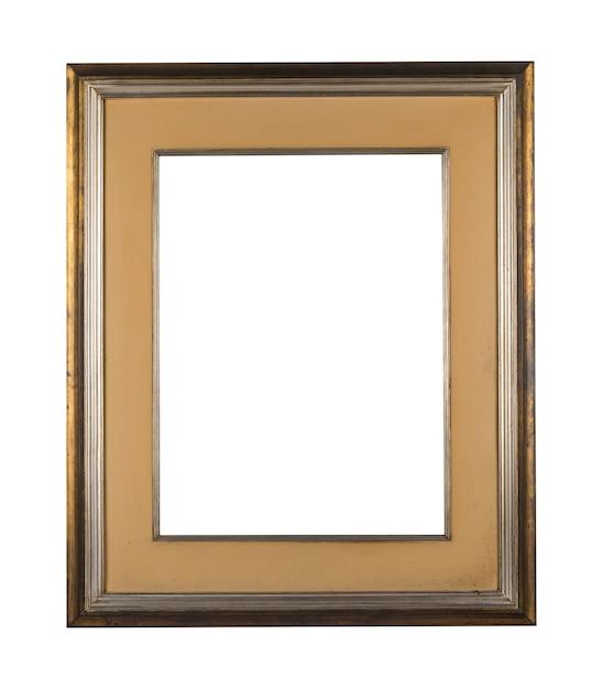 白い背景の上の茶色の木製の境界線を持つヴィンテージ空白フレーム 無料写真
