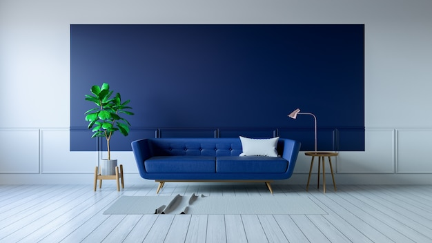 vintage blue room interior blue sofa on white flooring photo