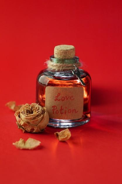 魔法の愛のポーションと赤いスペースの乾燥したローズのビンテージボトル Premium写真