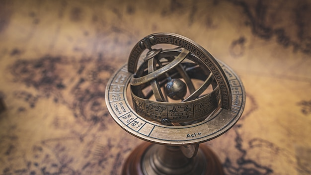 Vintage brass armillary zodiac sign globe Premium Photo