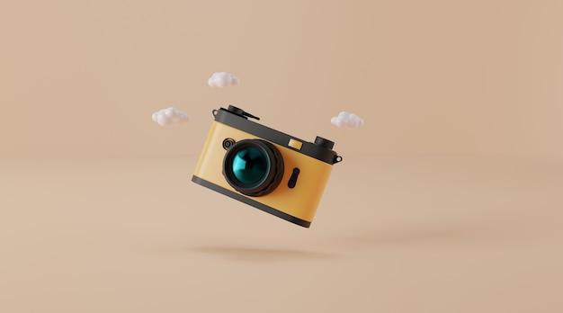 Vintage camera 3d illustration. Premium Photo
