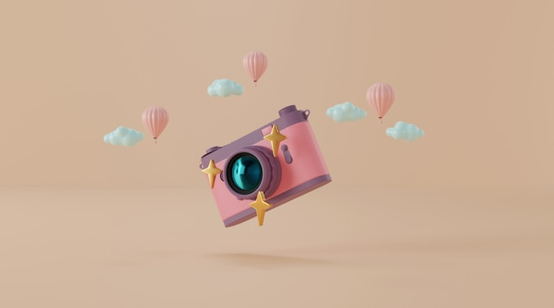 Vintage camera with balloon and clouds 3d illustration Premium Photo