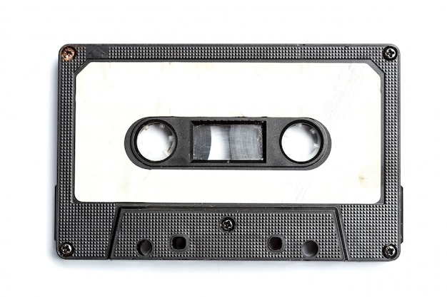 Vintage cassette tape isolated white Premium Photo