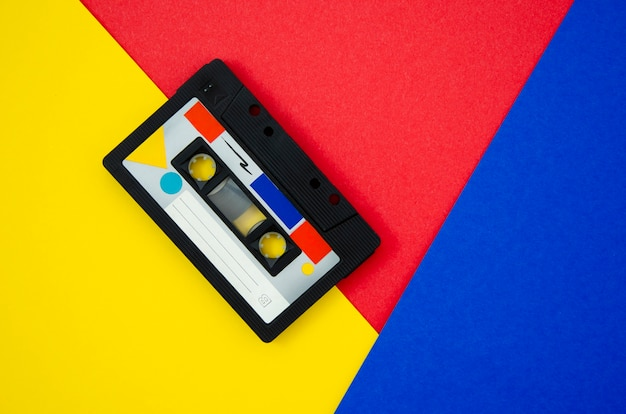 Vintage cassette tape on vivid background with copy-space Free Photo