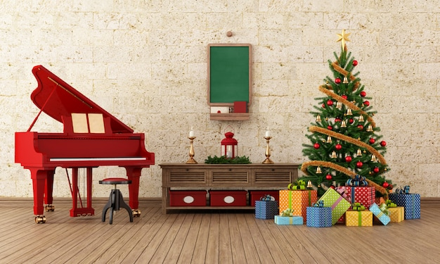 Vintage christmas interior with red grand piano and decorations - rendering Premium Photo