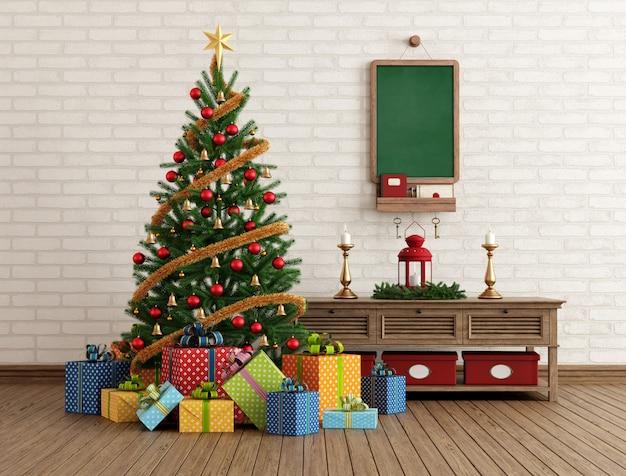 Vintage christmas interior Premium Photo