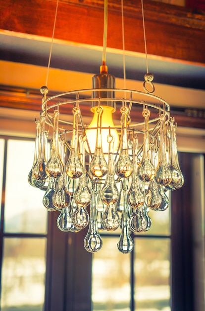 Vintage crystal chandelier ( filtered image processed vintage ef Free Photo