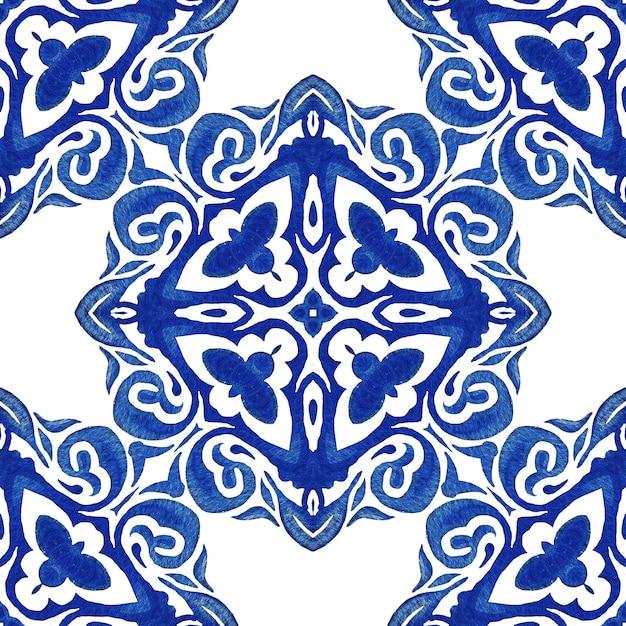 패브릭 빈티지 다 완벽 한 Azulejo 네덜란드 타일 장식 수채화 당초 디자인 패턴입니다. 프리미엄 사진