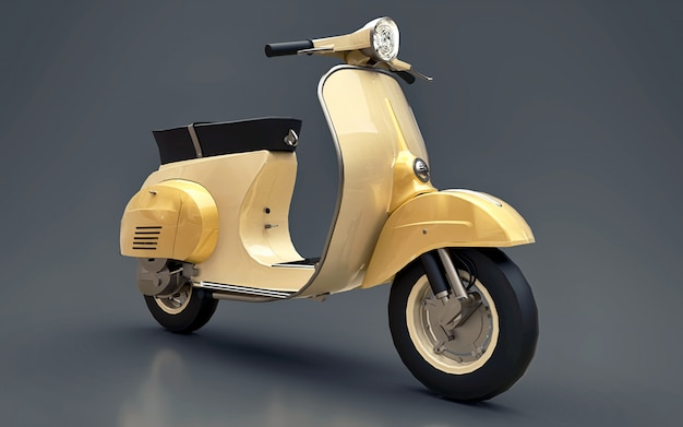 Vintage european gold scooter on a gray  . 3d rendering. Premium Photo