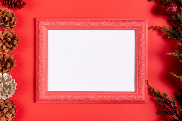 Vintage frame with blank space on red table Free Photo