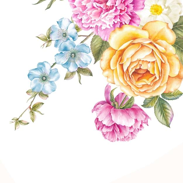 Vintage garland of blooming flowers. Premium Photo