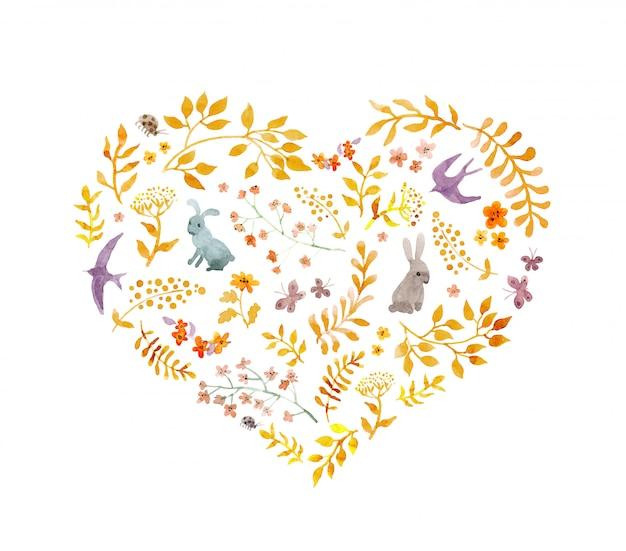 ビンテージハート-秋の葉、ウサギ、鳥。水彩 Premium写真