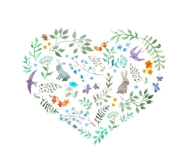 ビンテージハート-かわいい花、ウサギ、鳥。水彩 Premium写真