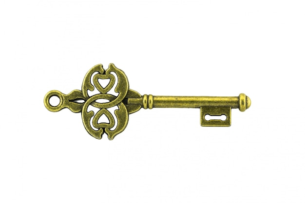 Vintage key on white background Premium Photo