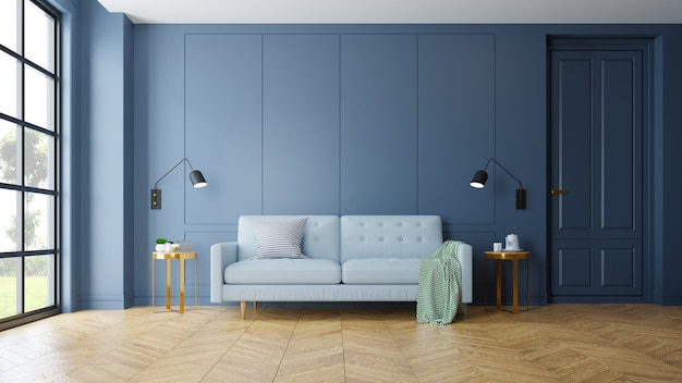 Vintage modern interior of living room Premium Photo