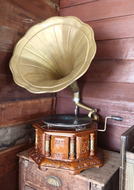 Vintage old record players in storage room Premium Photo