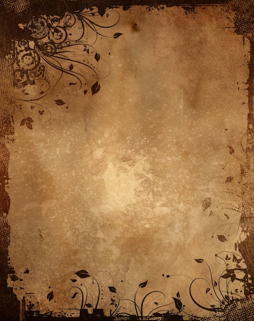 vintage paper background with grunge floral design photo