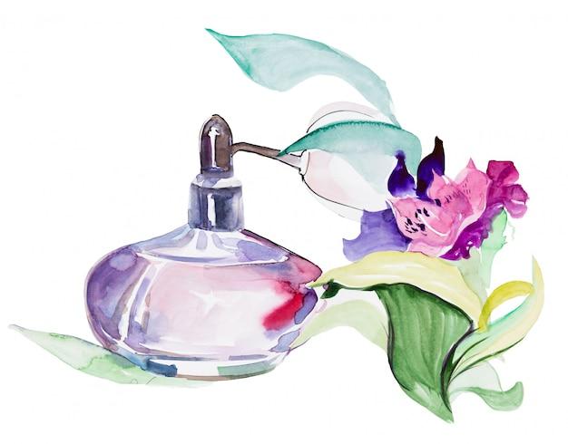 Vintage perfume bottle with flowers Premium Photo