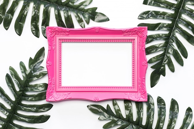 Vintage photo frame with green leafs and white background free photo Free Photo